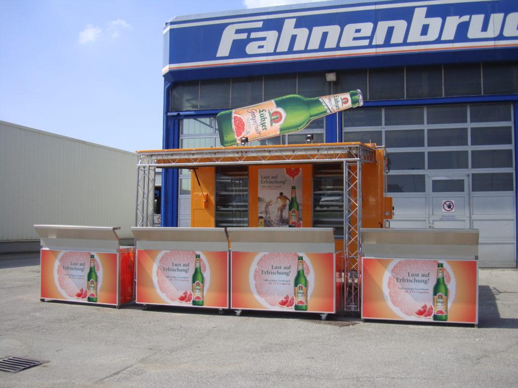 Fahnenbruck Combi Cooler koelwagen promotietrailer met losse promotie balies