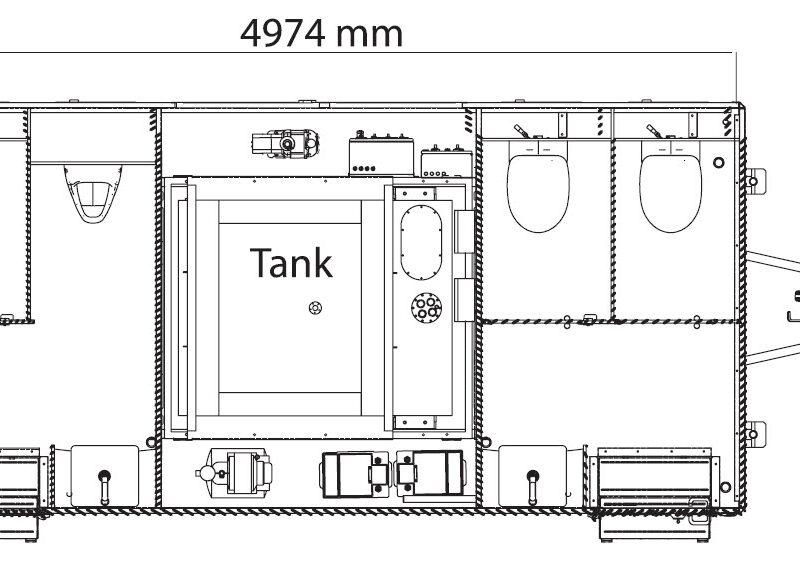 Bovenaanzicht GAMO FTT500 toiletaanhanger