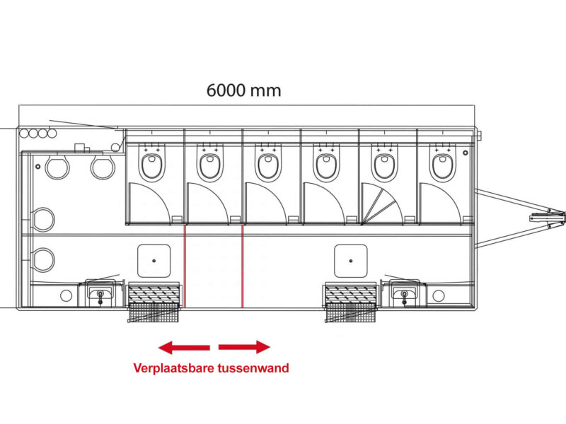 Bovenaanzicht GAMO FTT610 toiletwagen