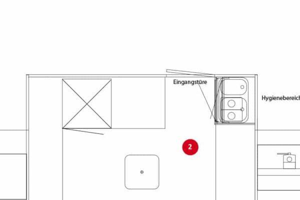 Variant 2: Doorlopende balie met hieronder plaats voor koelapparatuur