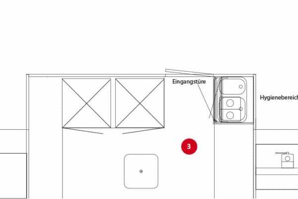 Variant 3: Staande koelkast, balie met onderbouw koelkast