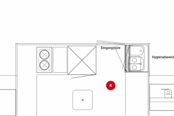 Variant 3: Staande koelkast, balie met plaats voor horeca apparatuur