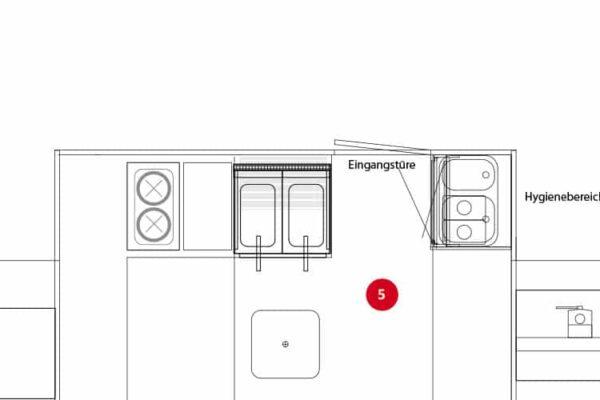 Variant 3: balie met plaats voor horeca apparatuur