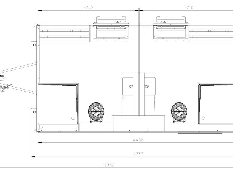GAMO badkamer aanhangwagen bovenaanzicht